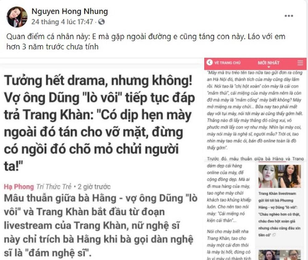 Vợ nghệ sĩ Xuân Bắc cổ vũ bà Nguyễn Phương Hằng, tán đồng quan điểm 'táng vỡ mặt' Trang Trần nếu gặp Ảnh 3