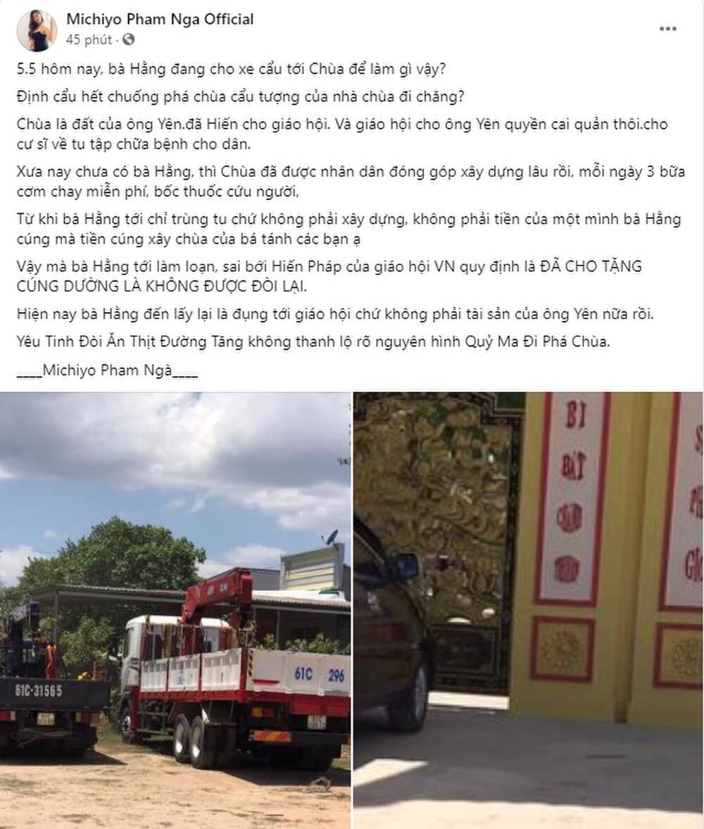 Nghệ sĩ múa Phạm Ngà bênh vực Hoài Linh, tung bằng chứng bà Phương Hằng cho xe cẩu đến phá chùa Ảnh 4