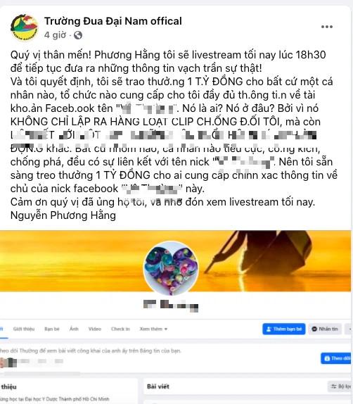 Vợ Dũng lò vôi, bà Phương Hằng treo thưởng 1 tỷ đồng để truy tìm chủ Facebook núp lùm phản pháo - Ảnh 2.