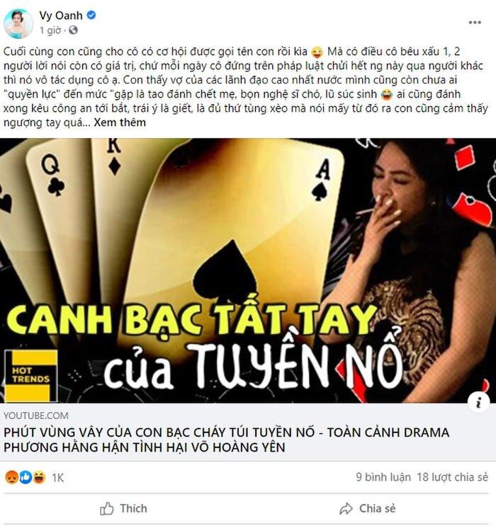 Vy Oanh 'đáp trả' sâu cay bà Phương Hằng sau khi bị tố 'cặp đại gia': 'Cô giữ sức khỏe để chửi con nha'