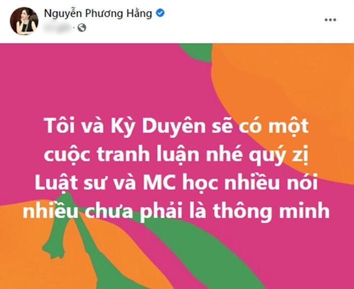 Mặc MC Kỳ Duyên xin lỗi, bà Phương Hằng vẫn quyết 'làm cho đến cùng'? Ảnh 1
