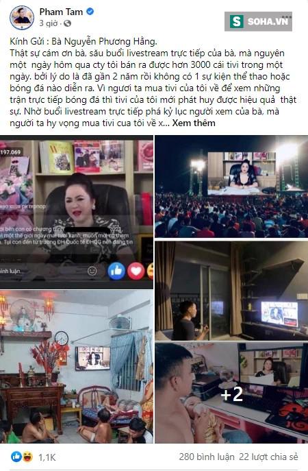 Ông Tam Asanzo cảm ơn bà Phương Hằng vì bán được 3.000 tivi để xem livestream - Ảnh 1.