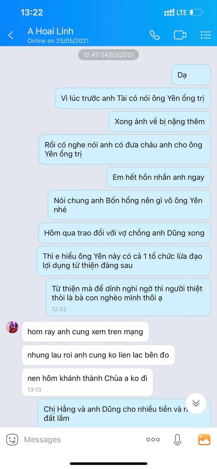 Lộ tin nhắn NSƯT Hoài Linh khẳng định không dính líu Võ Hoàng Yên, còn nhắc đến vợ chồng Dũng 'lò vôi' Ảnh 2