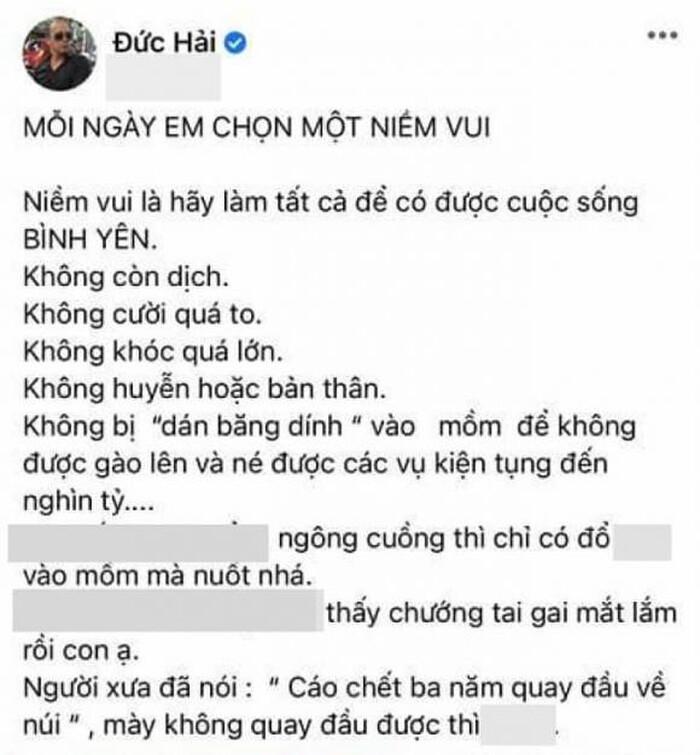 NSƯT Đức Hải khoá Facebook vì 'cơn bão' chỉ trích sau phát ngôn tục tĩu nghi 'khịa' bà Phương Hằng? Ảnh 2
