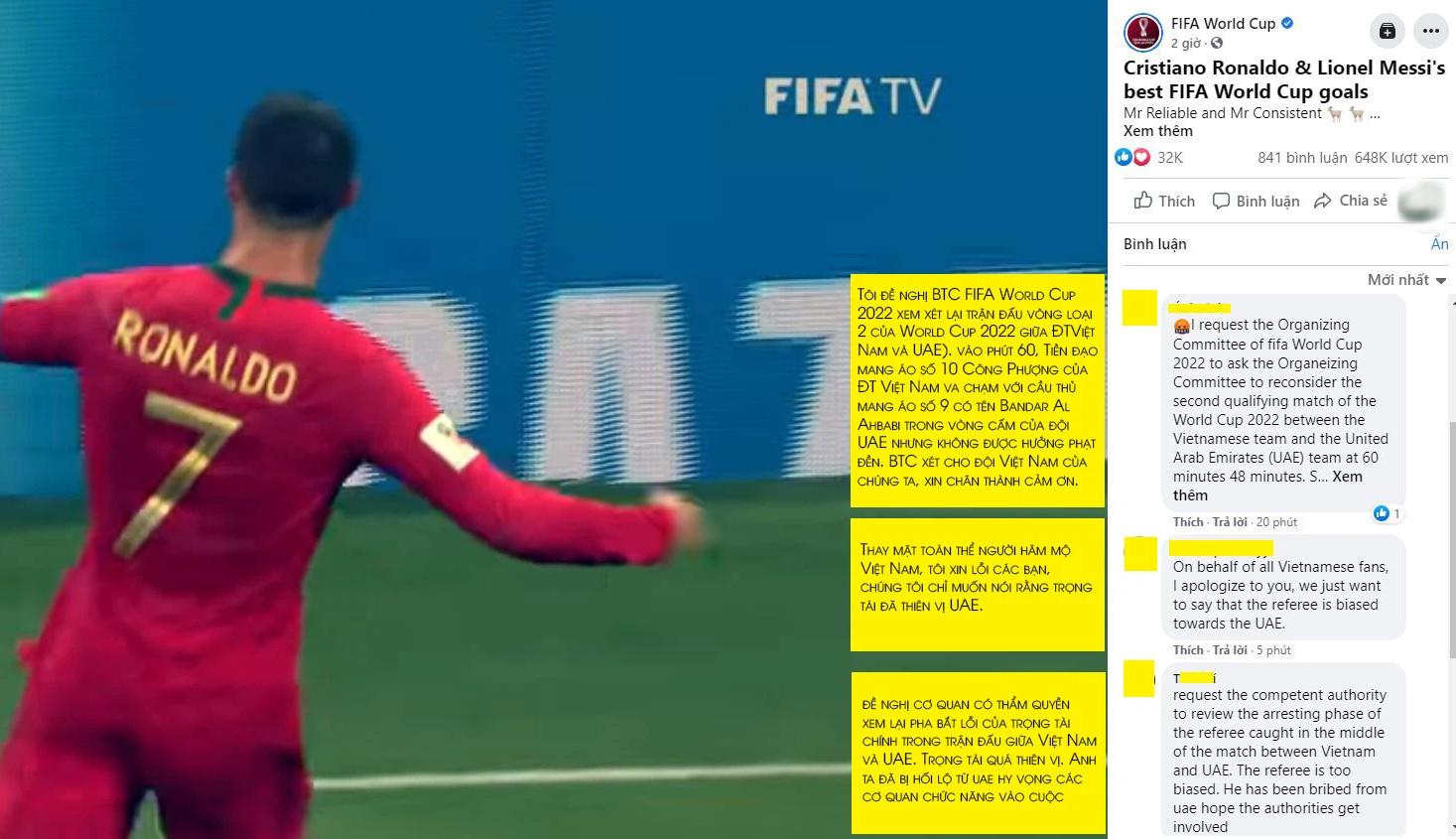 Fan Việt tràn vào Fanpage của FIFA World Cup để đòi công bằng cho Công Phượng - Ảnh 2.