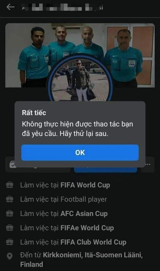 Trọng tài trận Việt Nam - UAE bị cộng đồng mạng tấn công Facebook cá nhân, phải tạm khóa tài khoản - Ảnh 3.