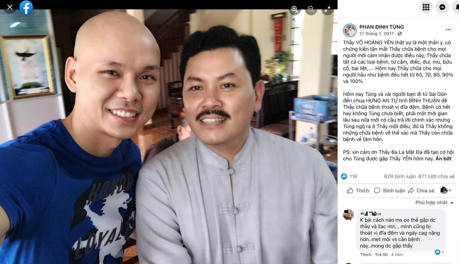 Rộ ảnh nghi vấn Phan Đinh Tùng đang được thần y Võ Hoàng Yên chữa thoát vị đĩa đệm, còn khen rối rít trên Facebook? - Ảnh 3.
