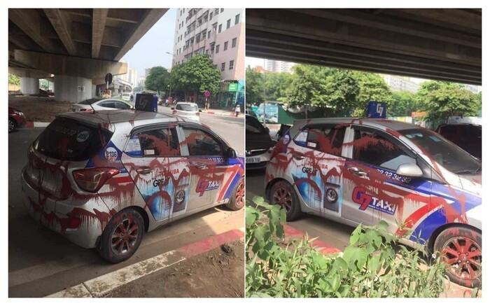 Đỗ xe dưới gầm cầu qua đêm, tài xế taxi 'phát sốt' khi thấy chiếc xe bị xịt sơn đỏ kín các góc Ảnh 1
