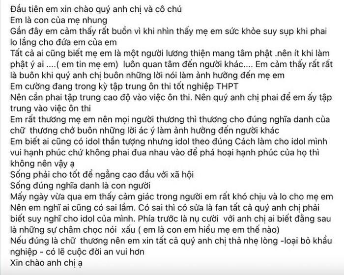 Con nuôi Phi Nhung lên tiếng bảo vệ mẹ, đồng thời nhắn nhủ đến cộng đồng mạng sau ồn ào Ảnh 2