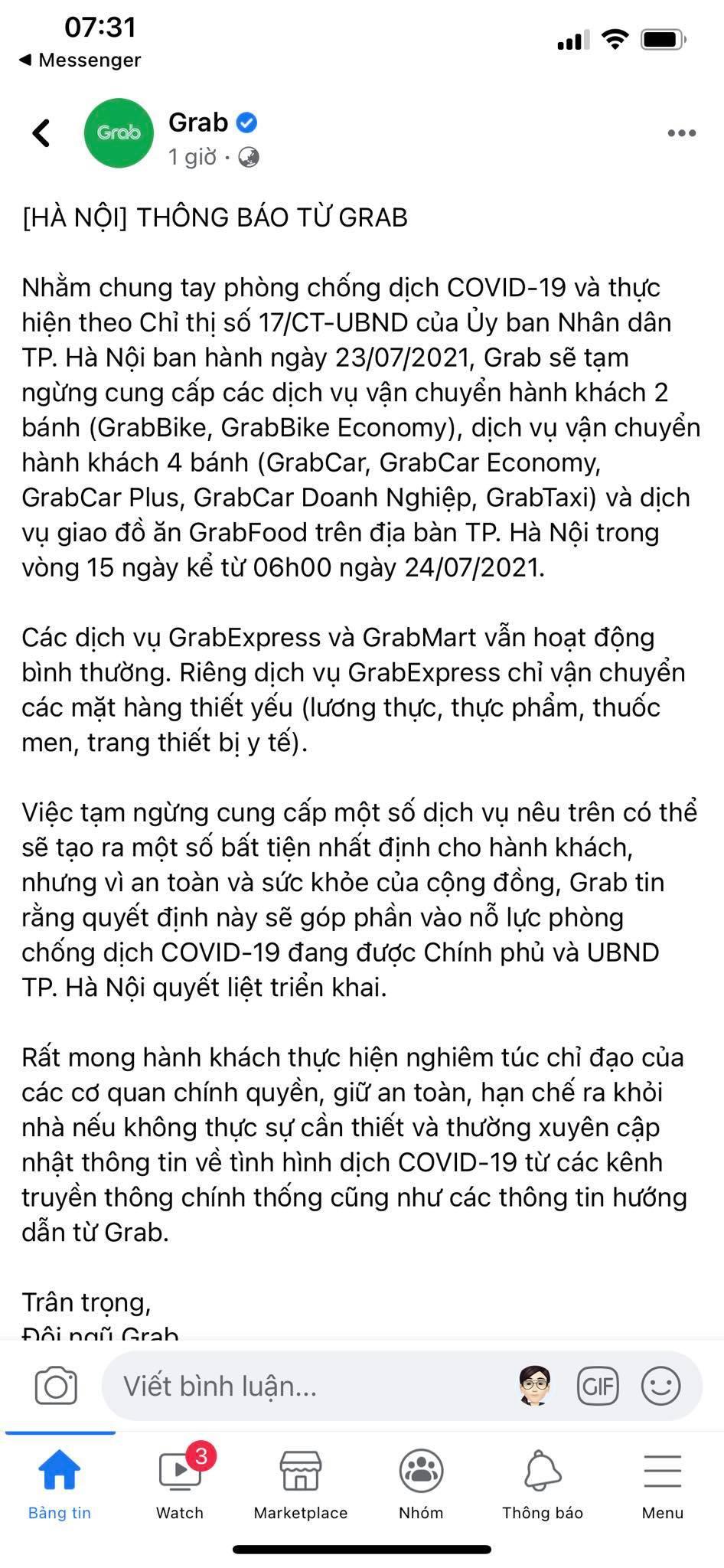 Grab thông báo tạm dừng dịch vụ giao đồ ăn GrabFood tại Hà Nội từ 6h ngày 24/7 - Ảnh 1.