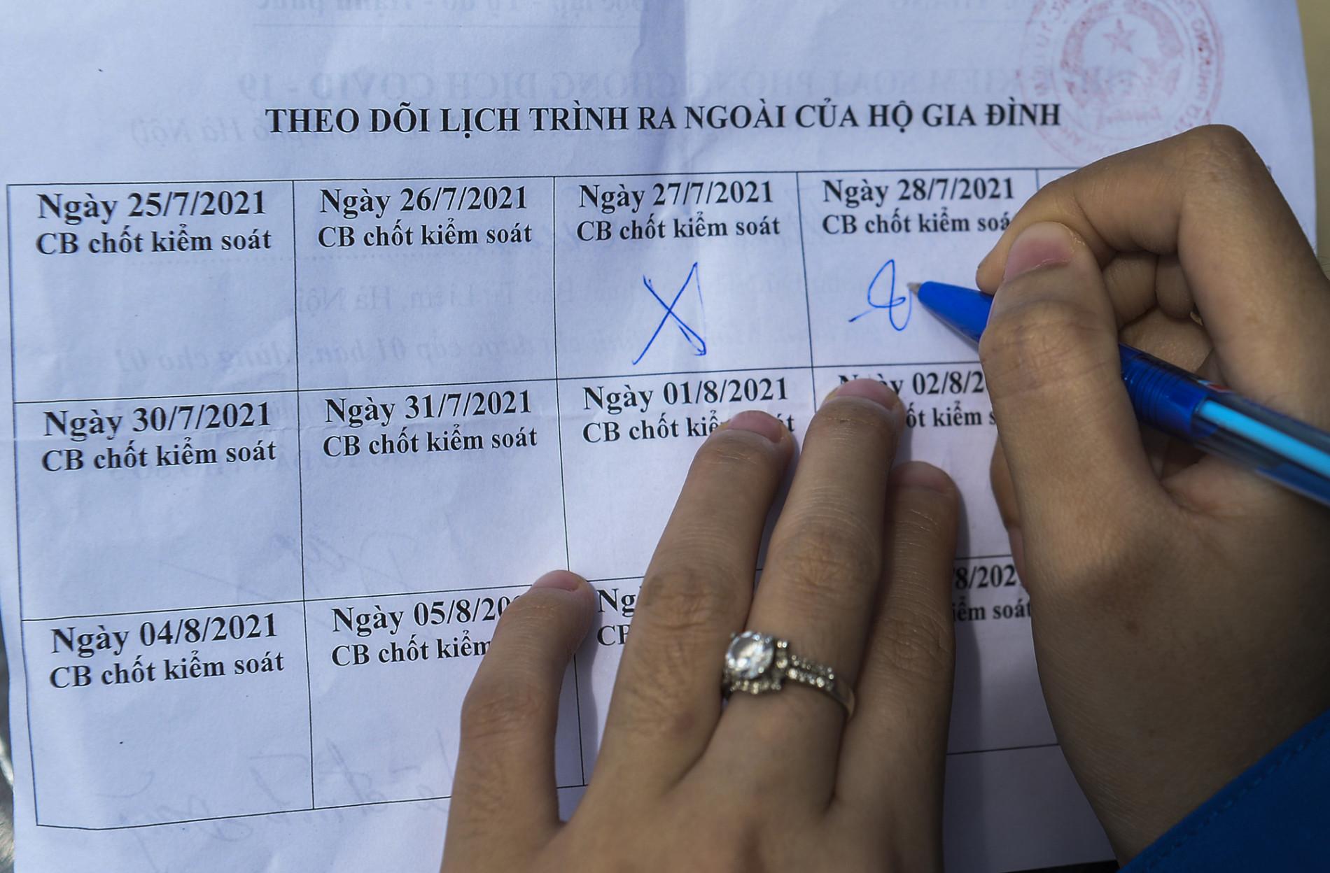 Hà Nội: Phường phát phiếu kiểm soát phòng, chống COVID-19, mỗi nhà chỉ ra đường 1 lần/ngày - Ảnh 7.