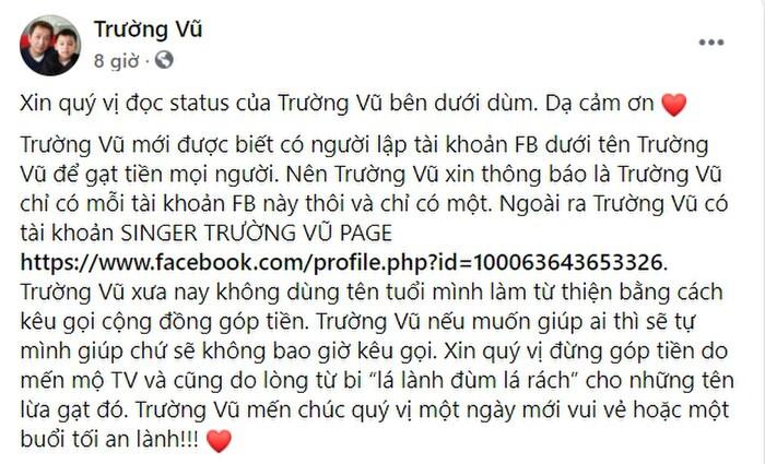 Giữa ồn ào với ông Võ Hoàng Yên, Trường Vũ lên tiếng nói về việc bị hãm hại để lừa đảo từ thiện