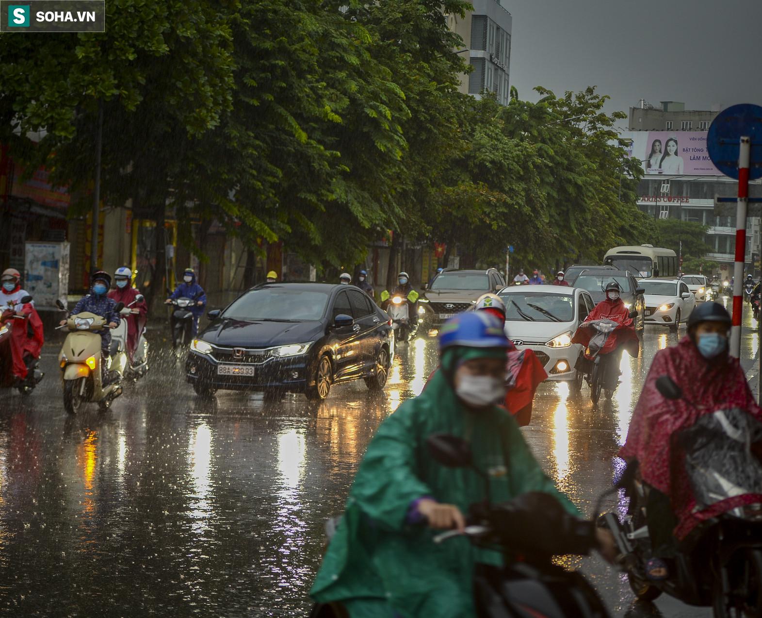 Cơn mưa rào khiến trời Hà Nội 8h sáng vẫn tối đen như mực - Ảnh 6.