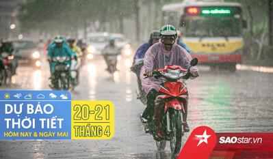 Dự báo thời tiết hôm nay và ngày mai 21/4: Hà Nội, TPHCM tiếp tục đón mưa dông