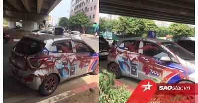 Đỗ xe dưới gầm cầu qua đêm, tài xế taxi 'phát sốt' khi thấy chiếc xe bị xịt sơn đỏ kín các góc