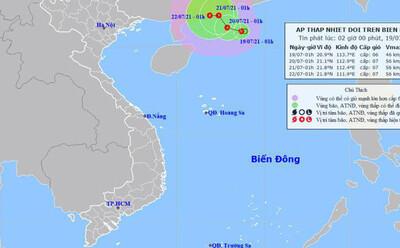 Áp thấp nhiệt đới giật cấp 9 trên Biển Đông, Hà Nội hôm nay có mưa to