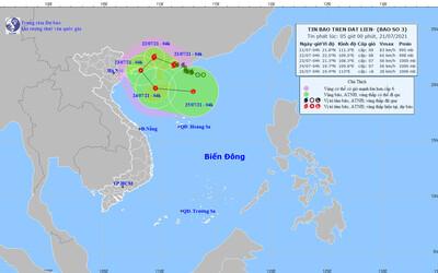 Ngày mai 22/7, tâm bão số 3 cách Móng Cái (Quảng Ninh) khoảng 200 km