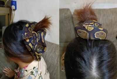 Dùng rắn làm dây buộc tóc, người phụ nữ khiến dân mạng sợ khiếp vía: 'Nhìn thôi đã tê hết da đầu rồi'