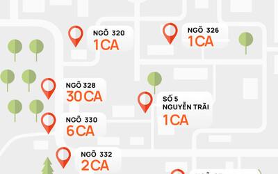 INFOGRAPHIC: Toàn cảnh 73 ca Covid-19 tại 'ổ dịch' nóng nhất Hà Nội chỉ sau 3 ngày
