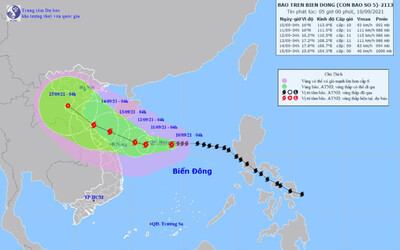 Bão số 5 liên tục tăng cấp, diễn biến khó lường, cách quần đảo Hoàng Sa khoảng 220km