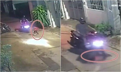 Bất ngờ chạy sang đường, bé gái bị xe máy tông trúng