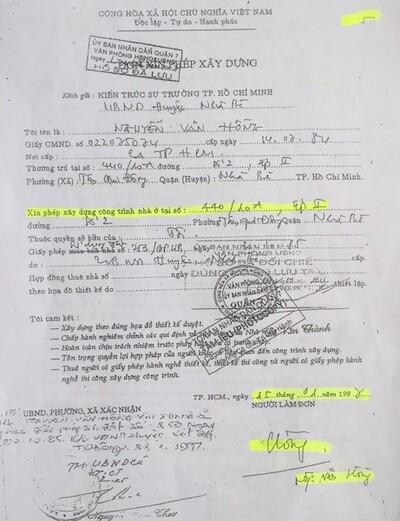 Tranh chấp QSDĐ tại Q.7, TPHCM: Làm rõ việc giả chữ ký trong Đơn xin phép xây dựng