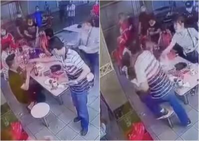 Chủ hàng ăn tung 'liên hoàn cước' vào mặt thực khách vì nghi bị nhìn đểu
