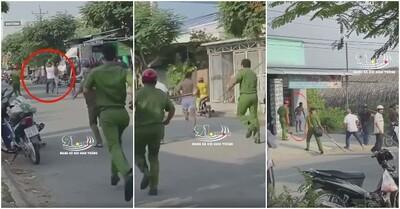 Clip: Truy bắt nam thanh niên nghi 'ngáo đá' chém 1 phụ nữ và 2 công an