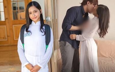 Diện áo dài học sinh và nón lá đóng phim 18+, nữ diễn viên gốc Việt gây bức xúc