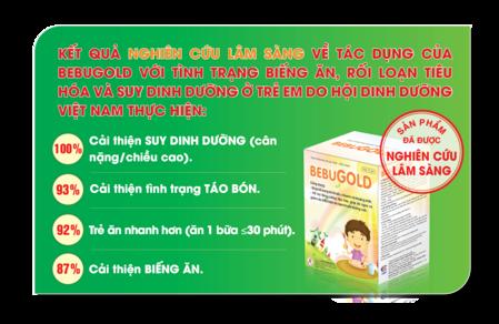 Kết quả nghiên cứu lâm sàng cốm vi sinhBEBUGOLD: 100% trẻ cải thiện cân nặng, chiều cao