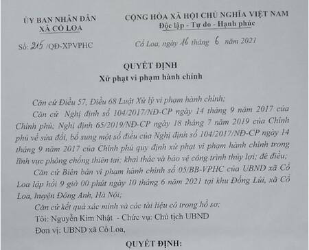 Cổ Loa, Đông Anh: Chưa đưa biên bản làm việc đã ra quyết định xử phạt